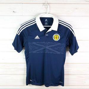 Adidas Scotland Jersey Polo Shirt Climacool Size L